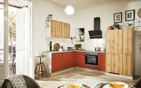 Einbauküche 700 PN 100 in Honig Eiche-Nachbildung, Zanker Geschirrspüler KDT10004FB