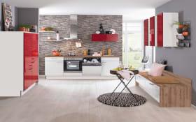 Einbauküche in weiß/rot, inklusive Zanker Elektrogeräte