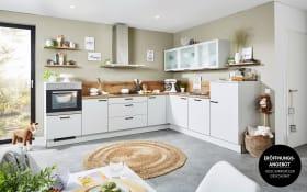 Einbauküche in lichtgrau, inklusive Zanker Elektrogeräte