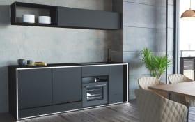Markenküche Inwerk in Black Steel matt, Bosch Elektrogeräte inklusive