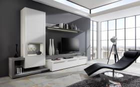 Wohnwand Bellano BE25 in seidenmatt weiß / Beton-farbig