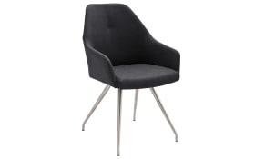 Stuhl Madita in anthrazit, mit ovalen Füßen aus Edelstahl