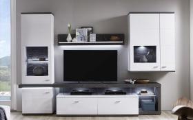 Wohnwand Karajol in weiß, mit LED-Beleuchtung