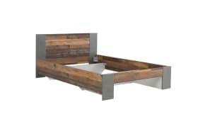 Jugendbett Clif in Old Wood Vintage Nachbildung und betonfarbig, Liegefläche ca. 140 x 200 cm