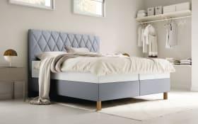 Boxspringbett Brilliant in grau, Liegefläche ca. 180 x 200 cm, 1 x Härtegrad 2 und 1 x Härtegrad 3