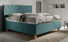 Polsterbett Brilliant in hellblau, Liegefläche ca. 160 x 200 cm, 1 x Härtegrad 2 und 1 x Härtegrad 3