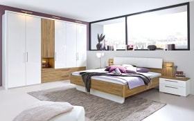 Schlafzimmer Zamaro in bianco weiß Hochglanz/Eiche Volano-Nachbildung, Schrankbreite ca. 302 cm, Liegefläche ca. 180 x 200 cm