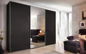 Schwebetürenschrank Savena in Basaltglas, Breite 270 cm, Höhe 223 cm, mit großer Spiegeltür