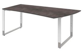 Schreibtisch Objekt Plus in weiß-quarzitfarbig, rechts, Füße in weiß-alu, ca. 180 cm