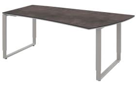 Schreibtisch Objekt Plus in weiß-quarzitfarbig, rechts, Füße in alufarben, ca. 180 cm