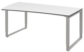 Schreibtisch Objekt Plus in weiß Matt, links, Füße in alu, ca. 180 cm
