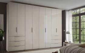 Kleiderschrank Sineo in sand, 8 Türen und 6 Schubkästen mit Glasoberflächen, Höhe 222 cm