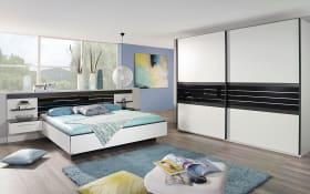 Schlafzimmer Coleen in weiß/graphit, Liegefläche ca. 180 x 200 cm, Schrankbreite ca. 280 cm,