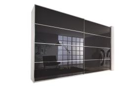 Schwebetürenschrank Sandrin in alpinweiß/basalt, Front Glas, Breite ca. 340 cm