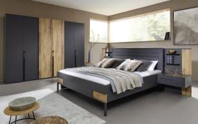 Schlafzimmer Valetta in graphit matt/Atlantic Oak-Nachbildung hell