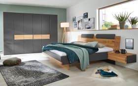 Schlafzimmer 4096 in schiefergrau, Absetzungen Eiche natur massiv, Liegefläche ca. 180 x 200 cm