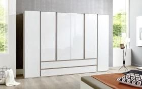 Drehtürenschrank 4018 in weiß, Breite 300 cm, 6 Türen und 2 extrabreite Schubkästen