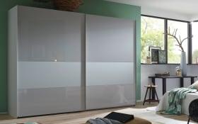 Schwebetürenschrank 4017 in seidengrau, Breite 280 cm, 2-türig, Bauchbinde in Glas seidengrau matt