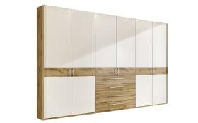 Drehtürenschrank Padua in Balkeneiche-Nachbildung/weiß, Breite ca. 300 cm