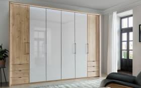 Drehtürenschrank 4003 in Glas weiß/Eiche-Bianco-Nachbildung