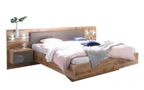 Bett mit Nachtkonsolen und Paneelen in Wildeiche Nachbildung/basaltgrau, inklusive Beleuchtung