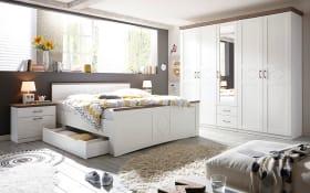 Schlafzimmer 4038 in weiß, Absetzungen in Anderson pine trüffel, Liegefläche ca. 180 x 200 cm