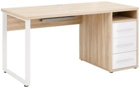 Schreibtisch Set+ in weiß Glas-Eiche natur Nachbildung