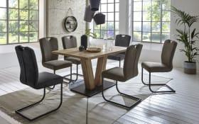Stuhlgruppe Oscar in Struktureiche terra-Nachbildung, mit ausziehbarer Tischplatte