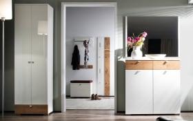 Garderobenkombination Una in weiß/Wildeiche-Nachbildung