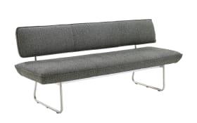 Sitzbank in schwarz, mit Gestell aus Metall