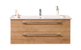 Set Keramikwaschtisch und Waschtischunterschrank b.brace in Eiche natur Nachbildung
