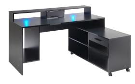 Schreibtisch Highscore 3 in schwarz Matt, inklusive Beleuchtung