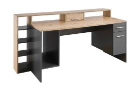 Schreibtisch Highscore 4 in Artisan Eiche Nachbildung- grau Matt, inklusive Beleuchtung