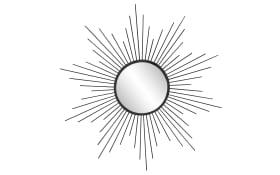 Metallspiegel Sun in schwarz, 60 cm