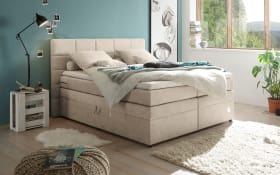 Boxspringbett Tacoma 3 in Uran sand, inklusive Bettkasten und Visco-Topper