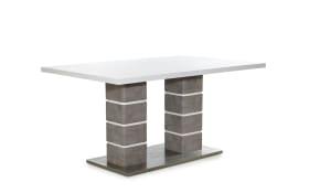 Esstisch Jennifer in weiß / Beton-Nachbildung, mit ausziehbarer Tischplatte