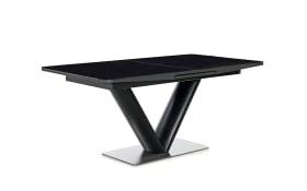 Esstisch Naomi in schwarz, mit ausziehbarer Glastischplatte