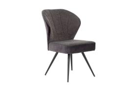 Stuhl Oder in anthrazit, mit schwarzem Metallgestell