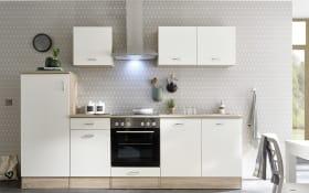 Küchenblock Andy in weiß/Sonoma-Eiche-Optik, inklusive Elektrogeräte