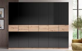 Kleiderschrank 492 in schwarz Hochglanz, Artisan Eiche, Breite 269 cm