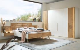 Schlafzimmer Axo in Lack weiß/Absetzungen Wildeiche massiv