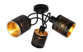 Deckenleuchte Tunno in schwarz/gold, 3-flammig