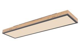 LED-Deckenleuchte CCT Doro in holz/graphit, 80 x 20 cm