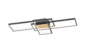 LED-Deckenleuchte Tucson in schwarz/holz, 104 x 42 cm