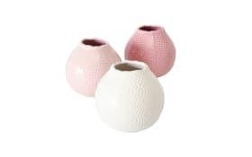 Vase Tessa in steingut rosa, 13 cm
