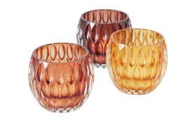 Windlicht Aliza in braun/gelb/orange, 8,5 cm