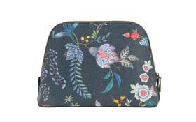 Cosmetic Bag Triangle Flower Festival aus Kunstleder in dark blue