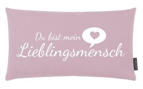 Kissen Lieblingsmensch in altrose, 30 x 50 cm