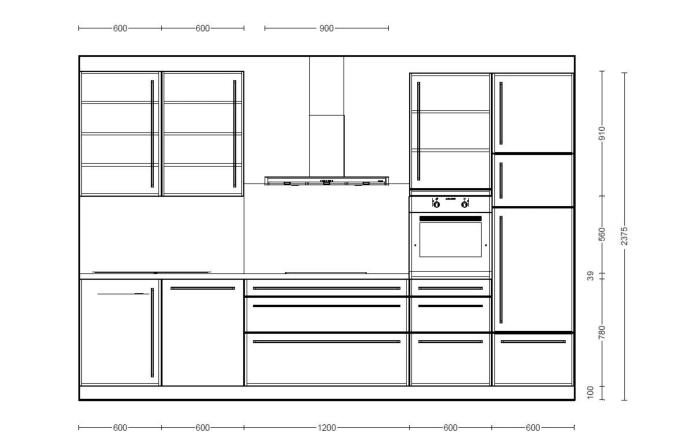 Einbauküche Monaco in Esche Perlmutt-Optik, Miele-Geschirrspüler
