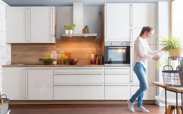 Einbauküche Monaco in Esche Perlmutt-Optik, Neff-Geschirrspüler